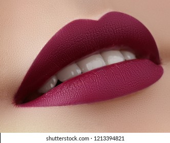 Beautiful Woman Lips with Fashion Marsala Vine Color Lipstick Makeup. Cosmetic, Fashion Make-Up Concept. Beauty Lip Visage. Passionate kiss. Female Sexy Open Mouth