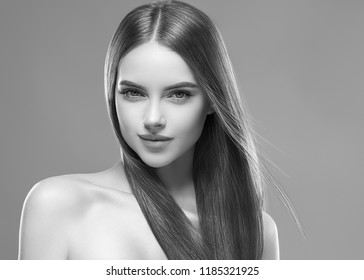 Beautiful woman with long beauty hairstyle hair monochrome portrait