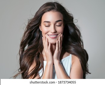 Beautiful woman with long beauy hair smile happy female girl