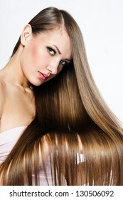 Beautiful Woman with  Long Hair , beauty woman model , clean skin face , glamour makeup