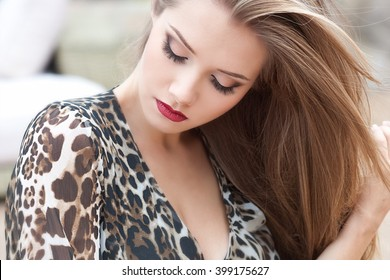 Beautiful woman with long hair in spring time.
