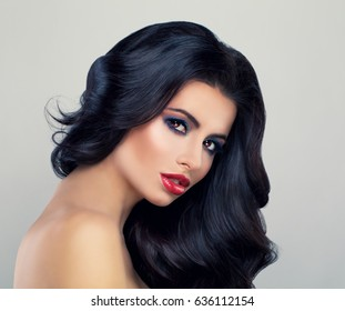 Beautiful Woman with Long Healthy Hairstyle. Fashion Model with Brown Wavy Hair and Cute Face. Beauty Salon Background