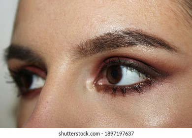 Beautiful Woman with long lashes and beautiful make-up in a beauty salon.Eye makeup close-up. Selective focus.