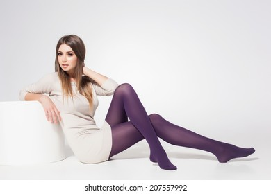 Young girl modeling pantyhose can