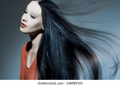 Beautiful woman with long tended hair