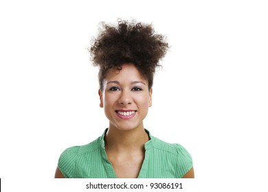 Beautiful woman looking at the camera smiling. Studio shot with isolated white background.