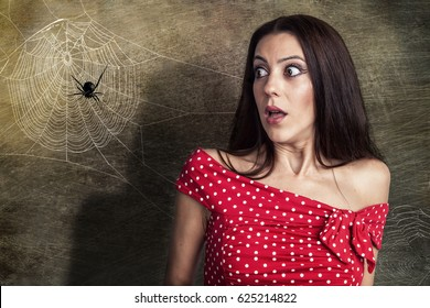 Image result for scared of spider stock photo
