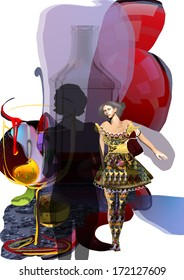 beautiful woman looking at a woman silhouette, abstract colorful shapes around, 3d illustration collage over a white background