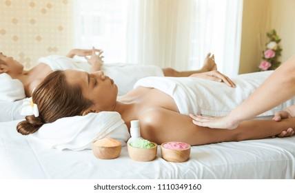 Beautiful woman lying, body massage in spa salon, Health care concept.