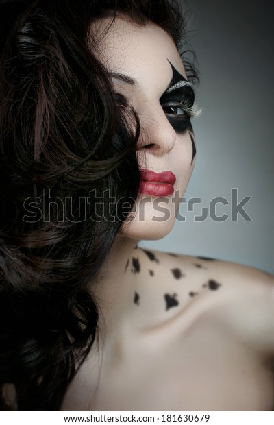 Beautiful Woman Makeup Bodyart Styled Playing Stock Photo Edit Now 181630679