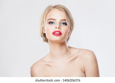 Beautiful woman with makeup and french twist hairdo