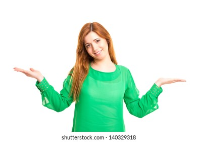 Beautiful woman making a scale with her arms wide open, isolated in a white background