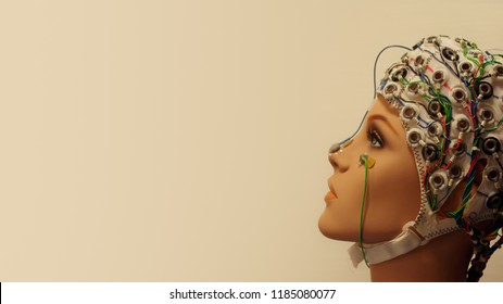 A beautiful woman manikin with EEG hat at smooth background, details, concept