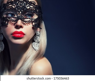 beautiful woman in mask with red lips