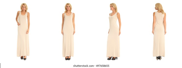 Beautiful woman in maxi dress isolated on white