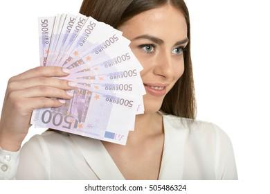 Beautiful woman with money