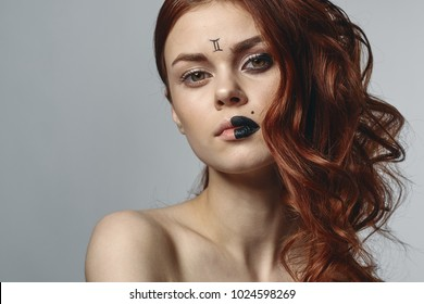 beautiful woman with multi-colored lips, horoscope, zodiac signs, twins