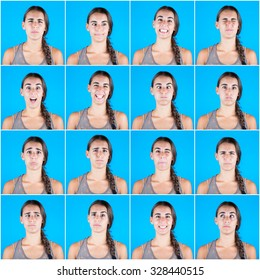 Beautiful woman multiple portraits on blue background. Each image is showing a different emotion like happiness, sadness, fear and some more.