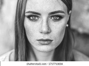 Beautiful woman natural face freckles casual female monochrome portrait lifestyle beauty girl