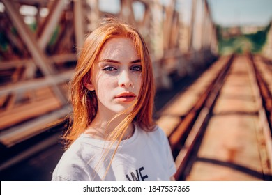 Beautiful woman natural face freckles casual female portrait lifestyle beauty girl. Redhead girl photoshot. Good photo for the shop or online market