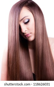 beautiful woman with natural long hair