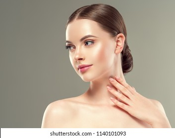 Beautiful woman with natural makeup healthy skin beaauty concept
