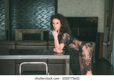 A beautiful woman in a negligee