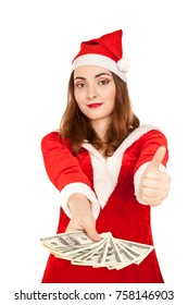 Beautiful woman in new year costume holding dollars isolated on white