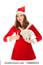Beautiful woman in new year costume holding a lot of money isolated on white