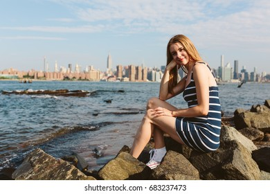 Beautiful woman in New York City in Summer