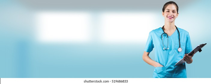 beautiful woman nurse or doctor is holding a notepad board with copy space for an advertising cover picture
