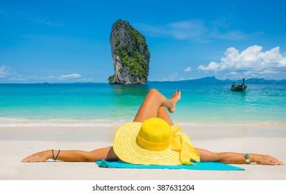 Beautiful woman on the beach. Poda island. Thailand