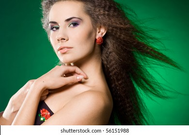 beautiful woman on green background