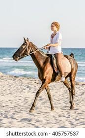 Beautiful woman on a horse. Horseback rider, woman riding horse, sea background