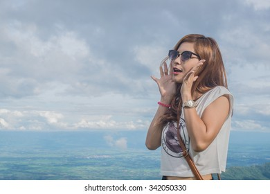 Beautiful woman  on Mountain