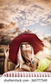 Beautiful woman on the tropical beach. Thailand.