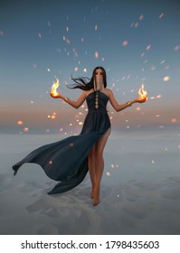 Beautiful woman oriental princess holds fire in her hands. Art photo. Fantasy girl fashion model. Mystery magician hides face under veil. blue sexy dress. Background dramatic dark night desert, Wind