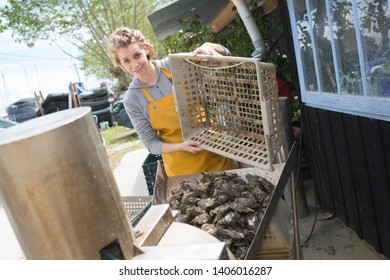 A beautiful woman oyster harvester