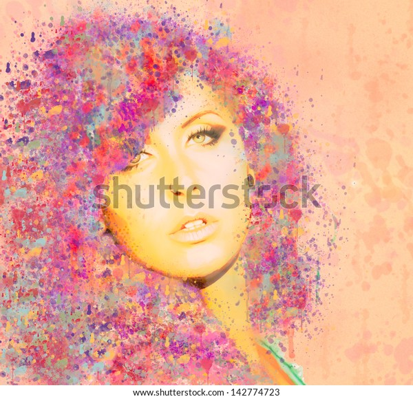 Beautiful Woman with Painted Hair