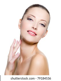 Beautiful woman pampering the neck  - on white background