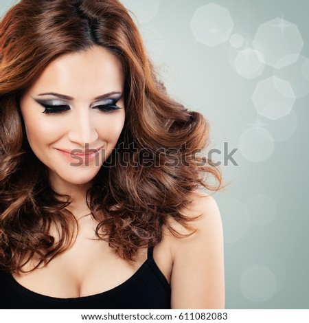 Beautiful Woman Party Makeup Red Curly Stock Photo Edit Now