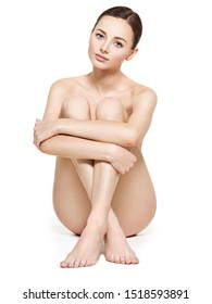 Beautiful woman with perfect body and legs on white background