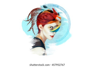 Beautiful woman with perfect make up in colorful artwork