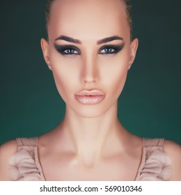 beautiful woman with perfect professional make-up.beauty fashion portrait of model girl with sexy lips