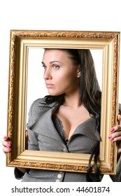 Beautiful woman and a picture frame isolated on a white background.