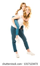beautiful woman piggybacking adorable daughter isolated on white