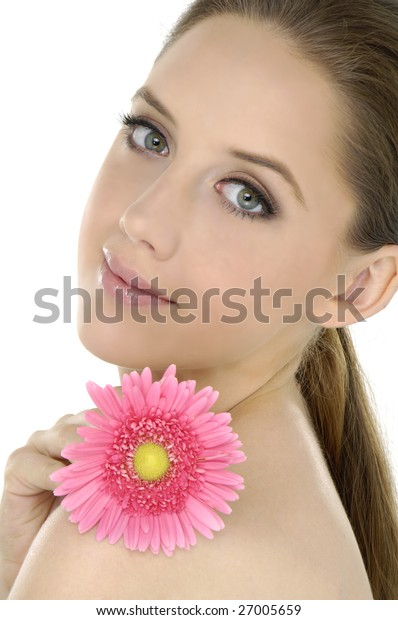 Beautiful woman with a pink flower