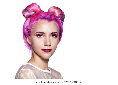 Beautiful woman with pink and violet hair with sparkles on the face. isolated on white background