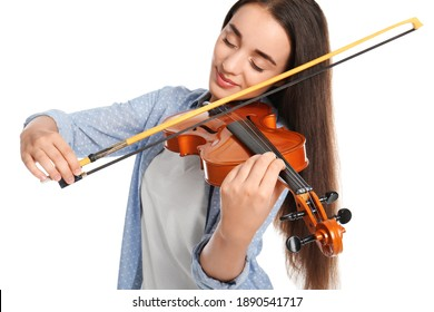 Beautiful woman playing violin on white background, focus on hand