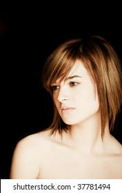 Beautiful woman portrait against black background